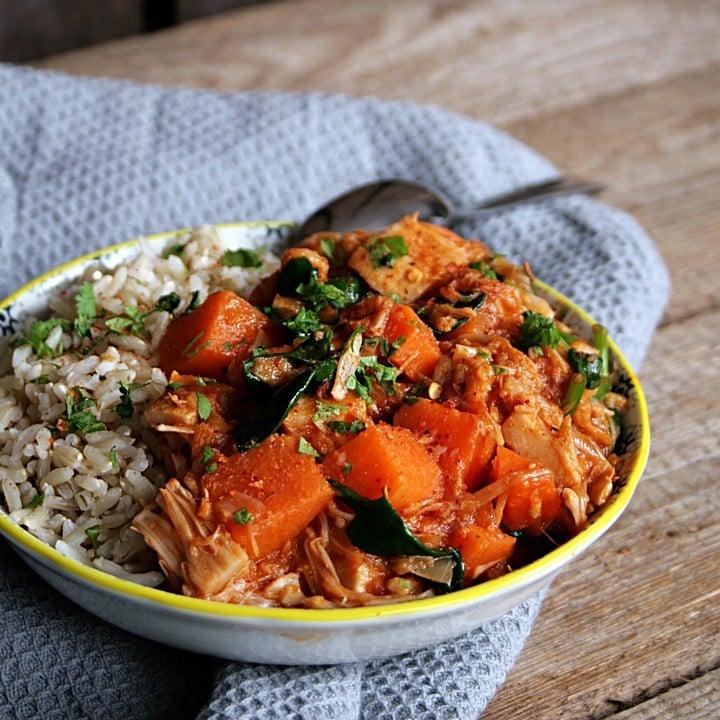 Jackfruit Sweet Potato Curry with Spinach vegan