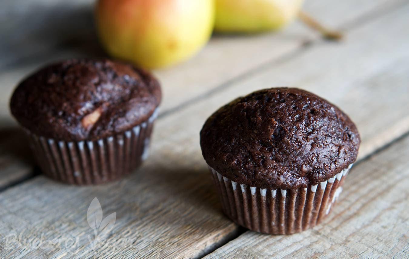 Saftige Schoko Birnen Muffins Blueberry Vegan