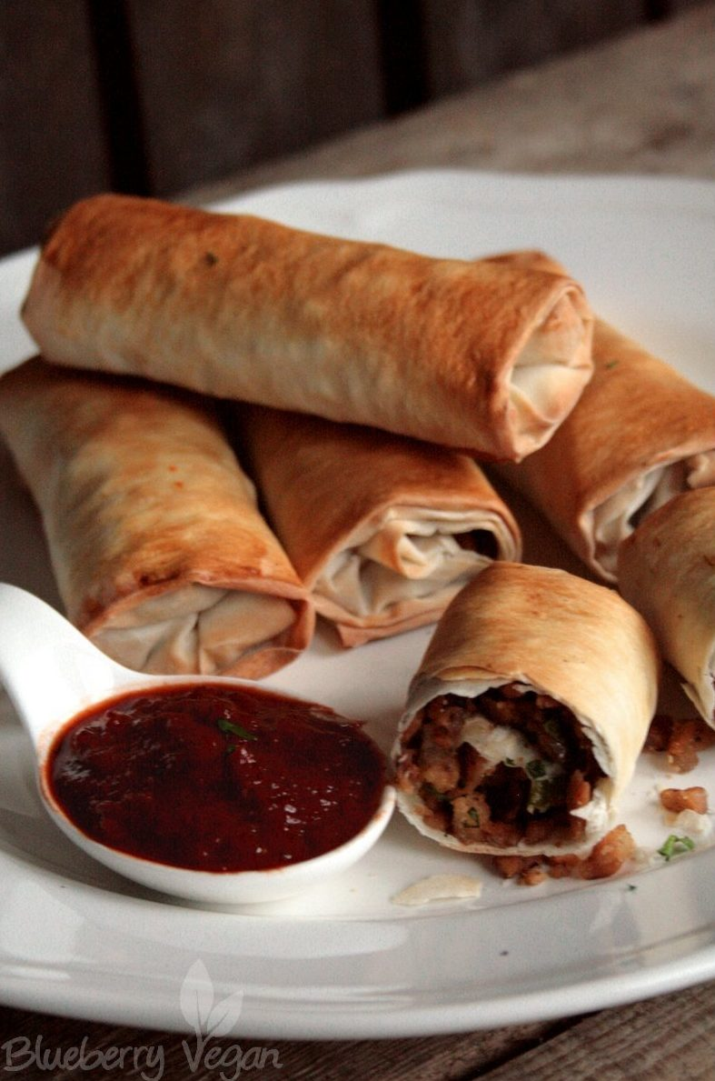 Phyllo Dough Rolls with Smoky Tomato Dip