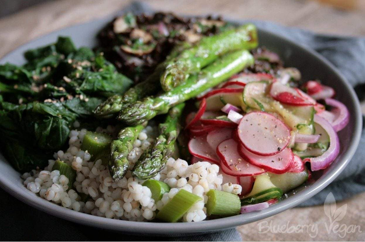 Spring Bowl with Radish, Pearl Barley and Asparagus