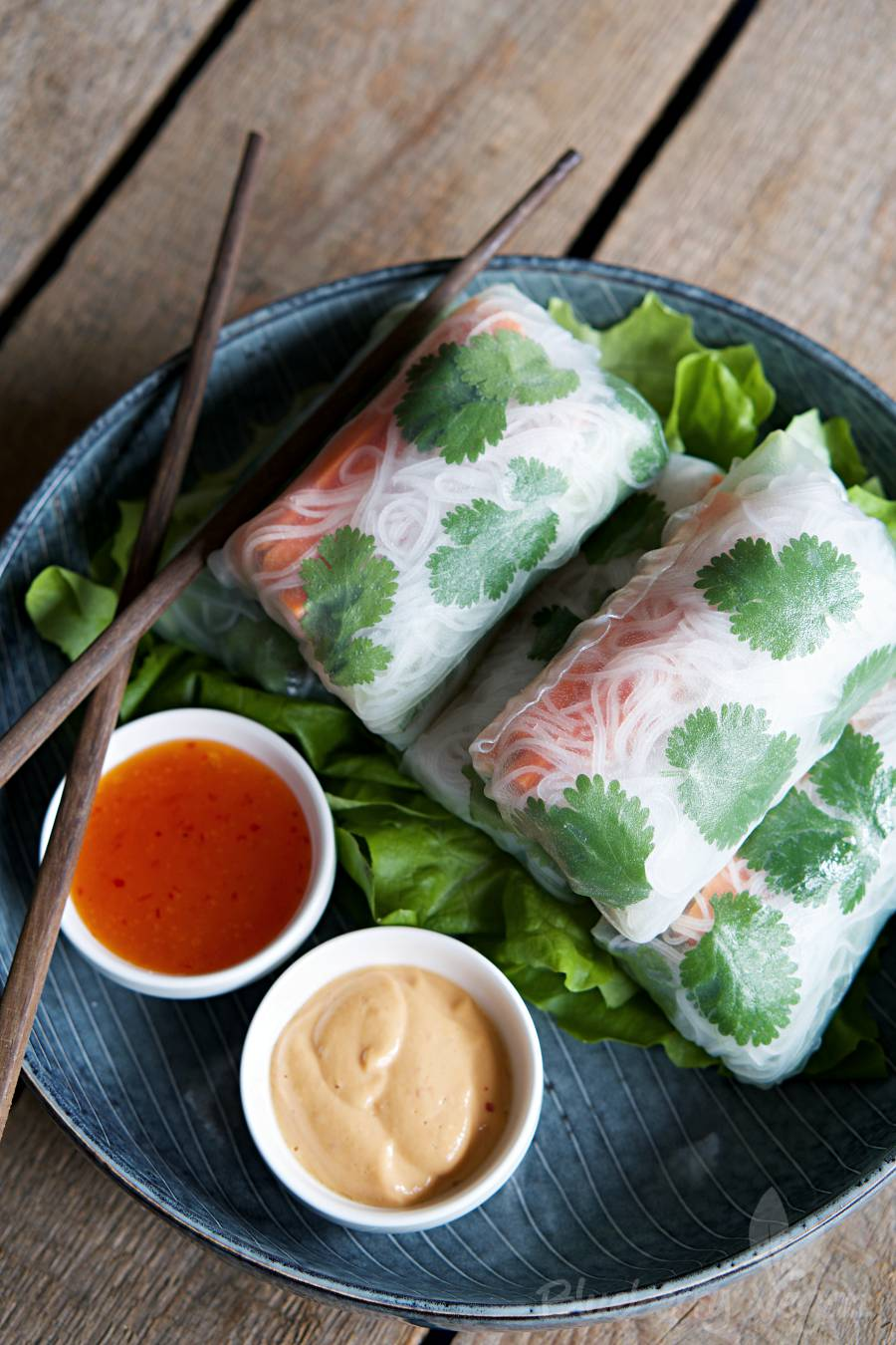 Summer Rolls with Peanut Sauce and Sweet Chili Sauce