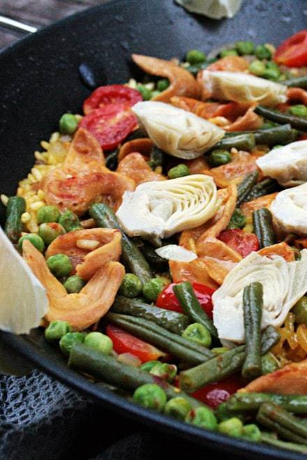 Paella with Pulled Soy, Artichokes and Green Beans