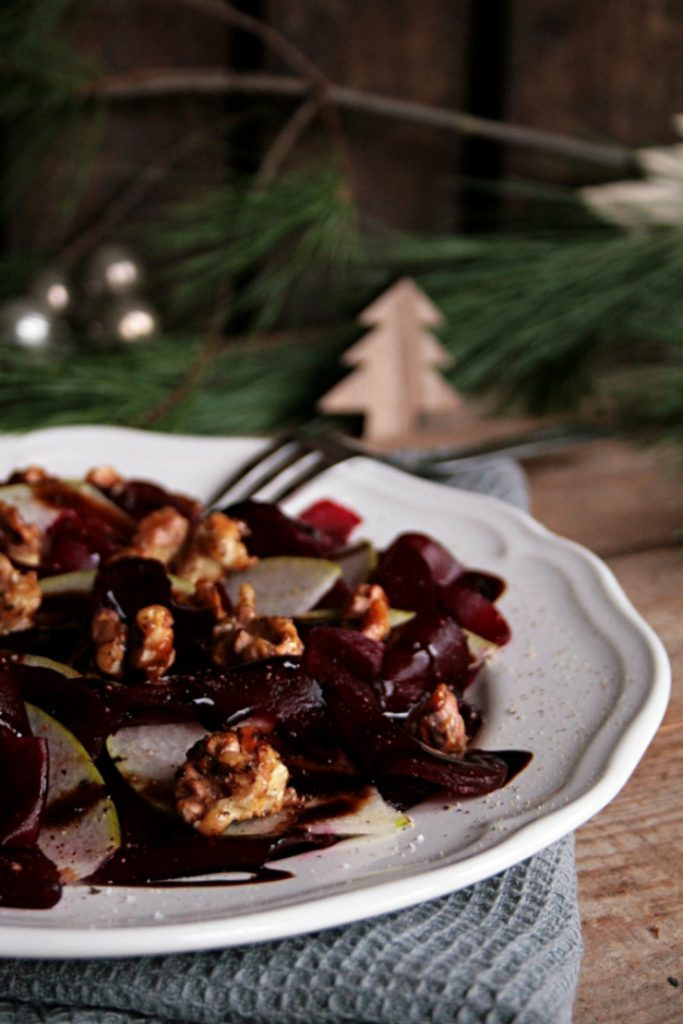 Beetroot Carpaccio with Pear and Caramelized Walnuts