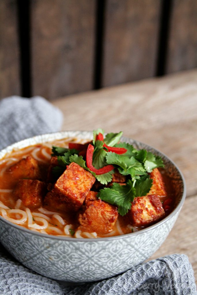 Thai Curry Noodle Soup with Spicy Tofu