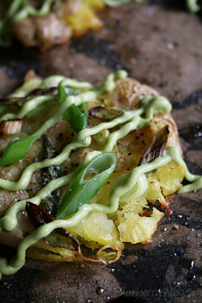 Crispy Smashed Potatoes with Avocado Aioli