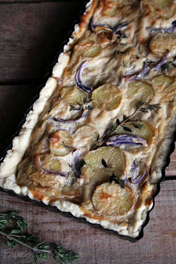 Creamy Potato Tart with Thyme and Red Onions