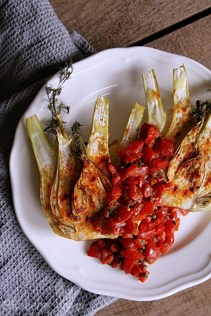 Baked Fennel with Harissa Salsa
