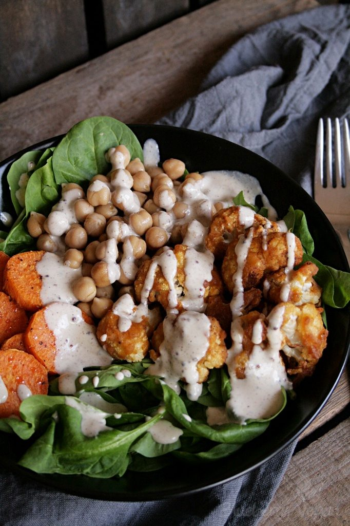 Spinach Sweet Potato Bowl with Fried Chicken Cauliflower and Caesar Dressing