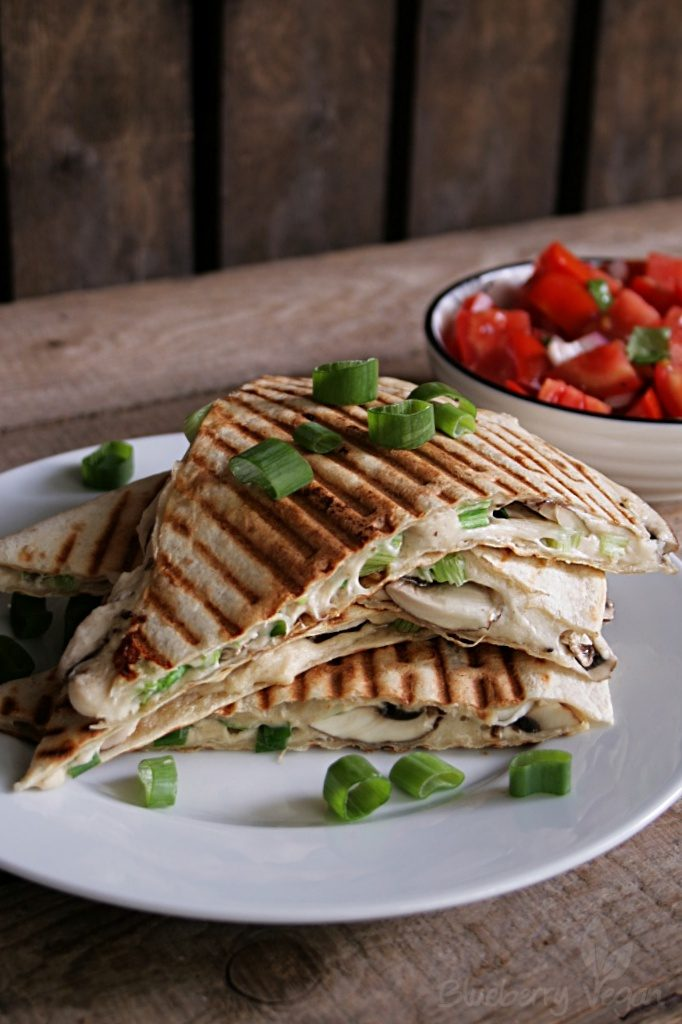 Quesadillas with Cashew Cheese, Mushrooms and Tomato Salad