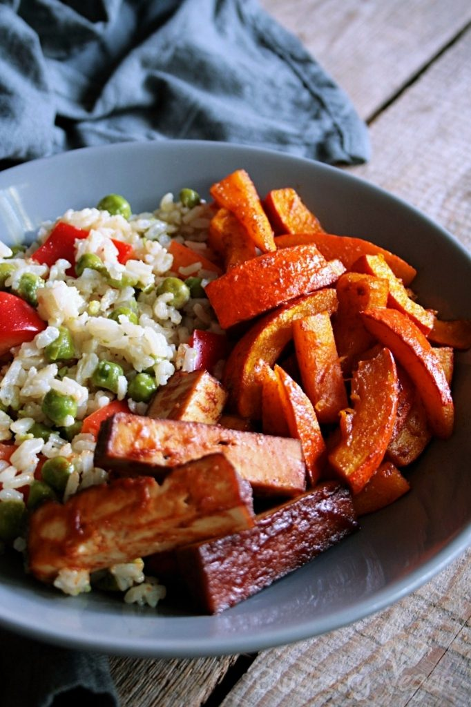 Warm Rice Salad with Oven Pumpkin and Barbecue Tofu