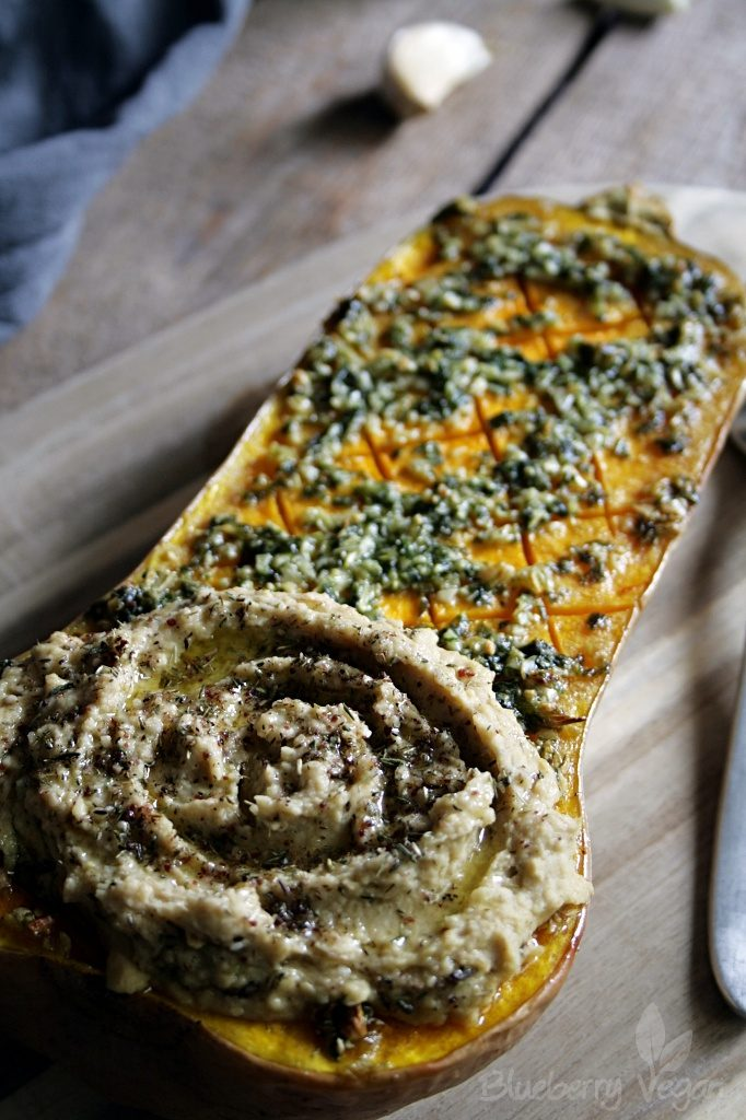 Baked Butternut Squash with Garlic and Basil