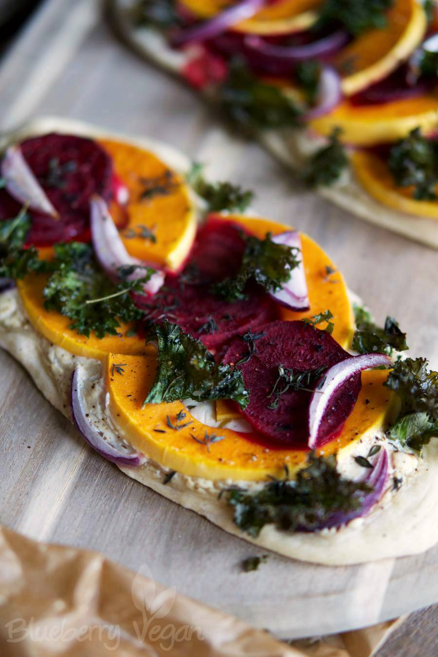 Wintry Crispy Pizza Boats with Pumpkin, Beetroot and Kale