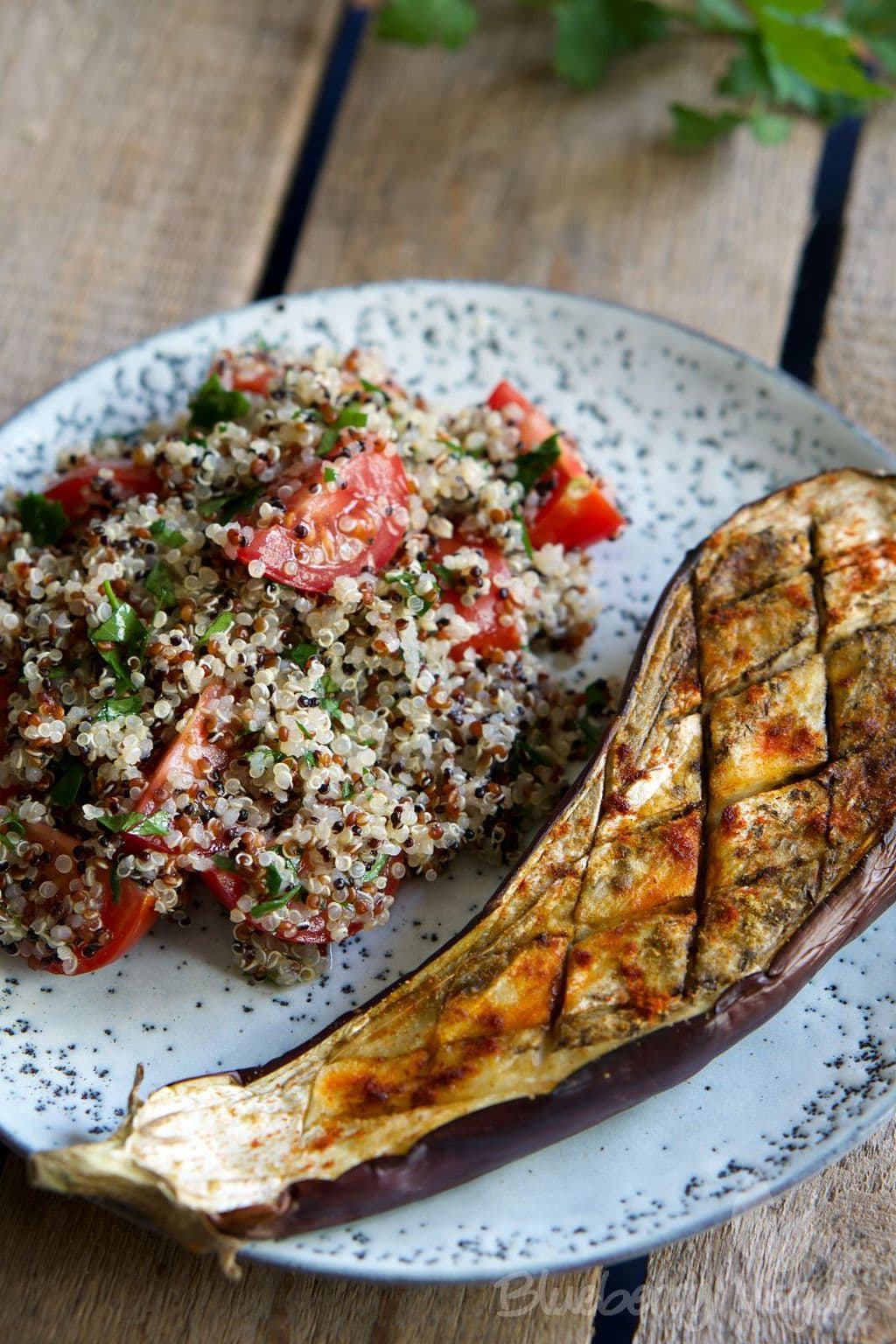 Baked Eggplant with Warm Quinoa Tabbouleh