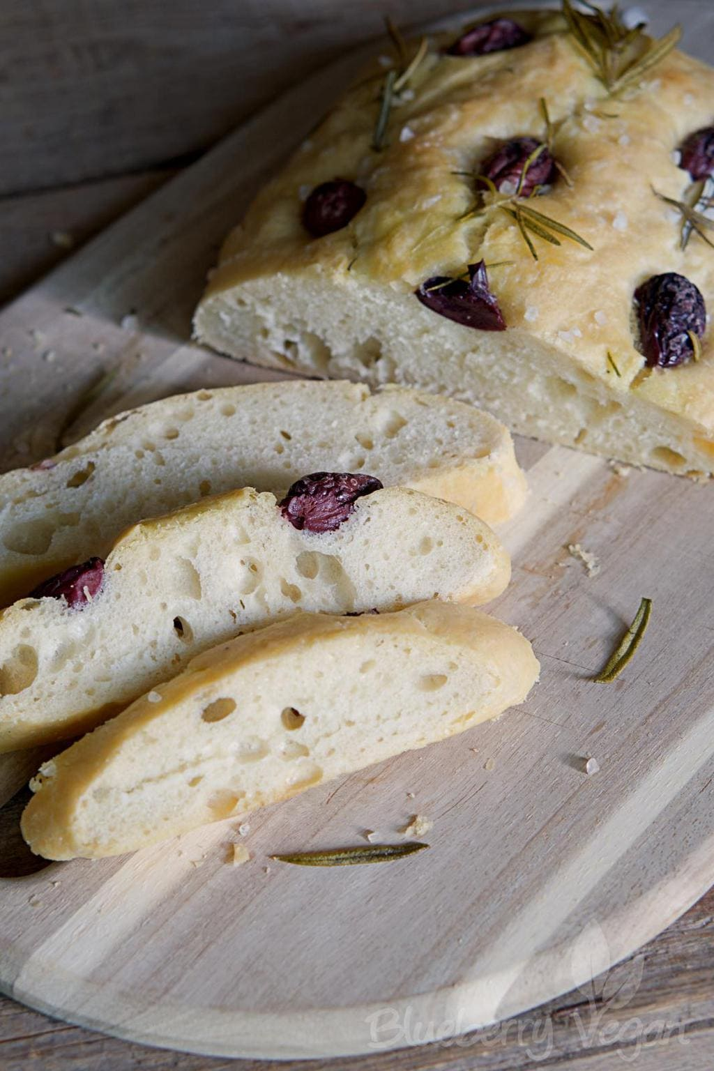 Fluffy Focaccia with Olives, Rosemary and Salt