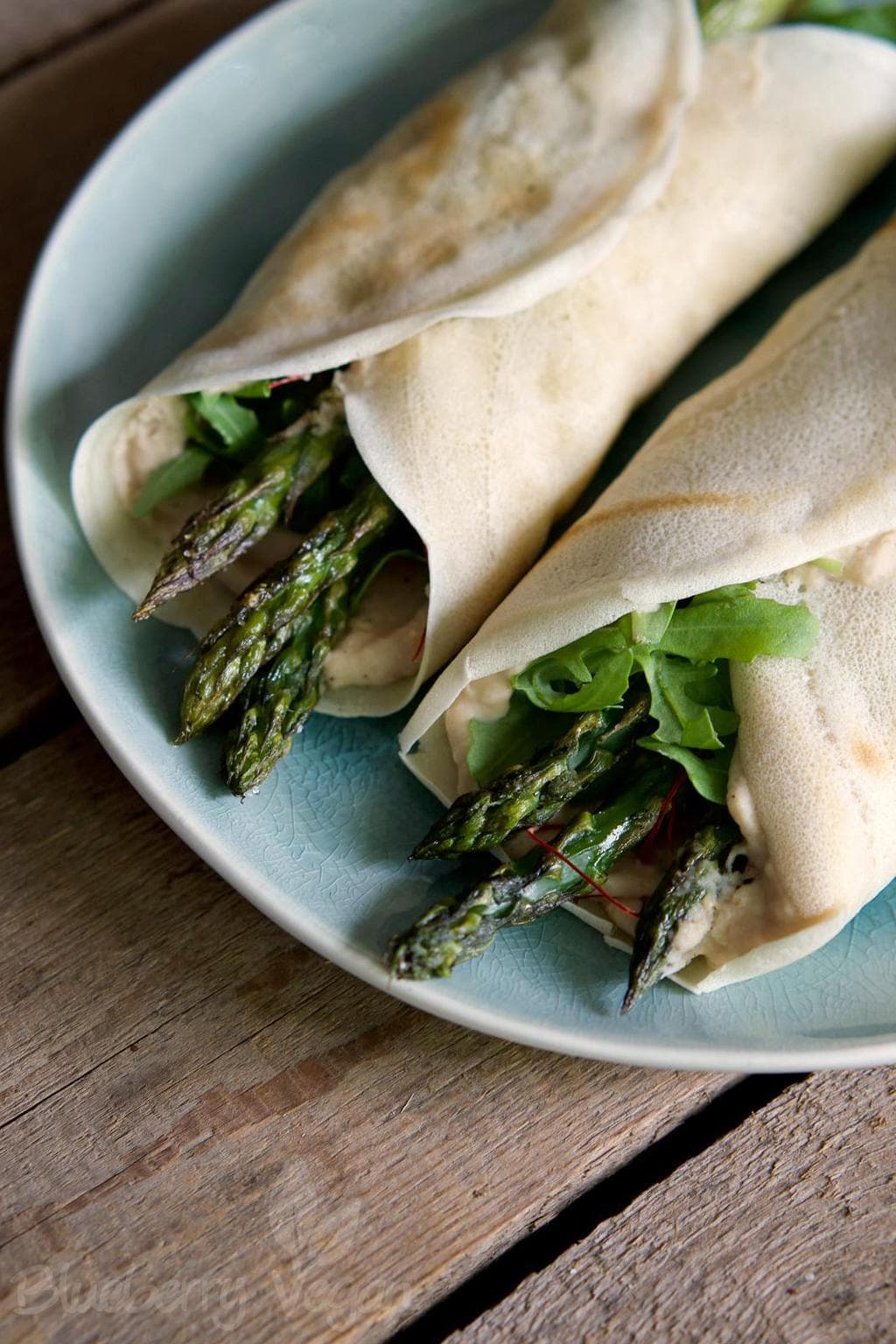 Tasty Asparagus Pancake Rolls with Tangy Bean Dip
