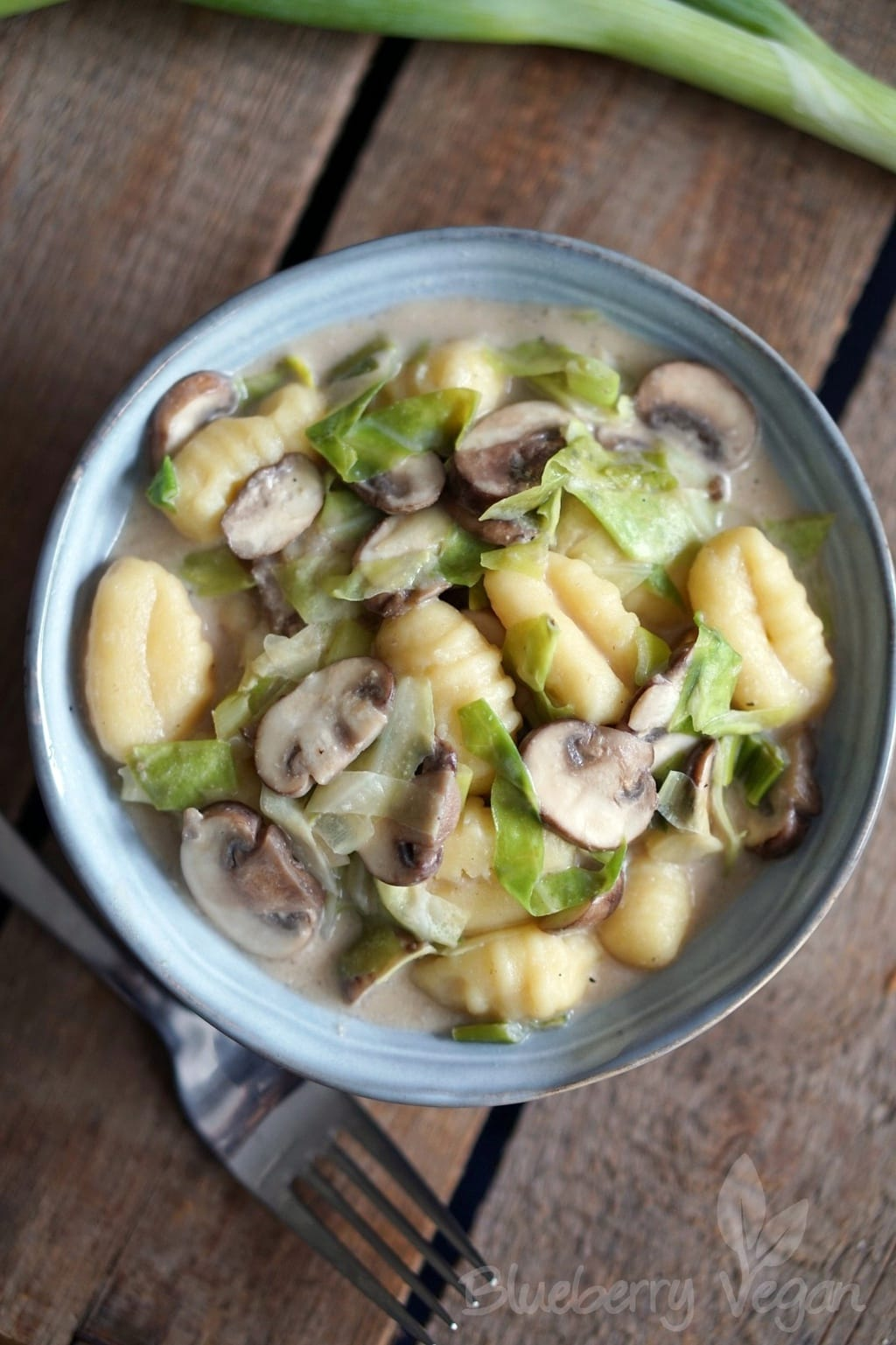 Creamed Gnocchi with Mushrooms and Pointed Cabbage