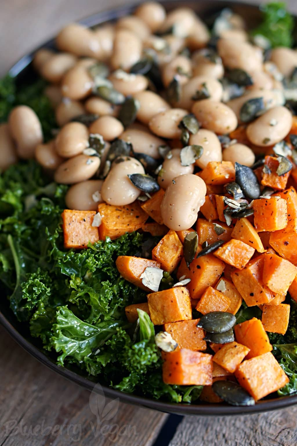 Kale Salad with Roasted Sweet Potato and Giant White Beans