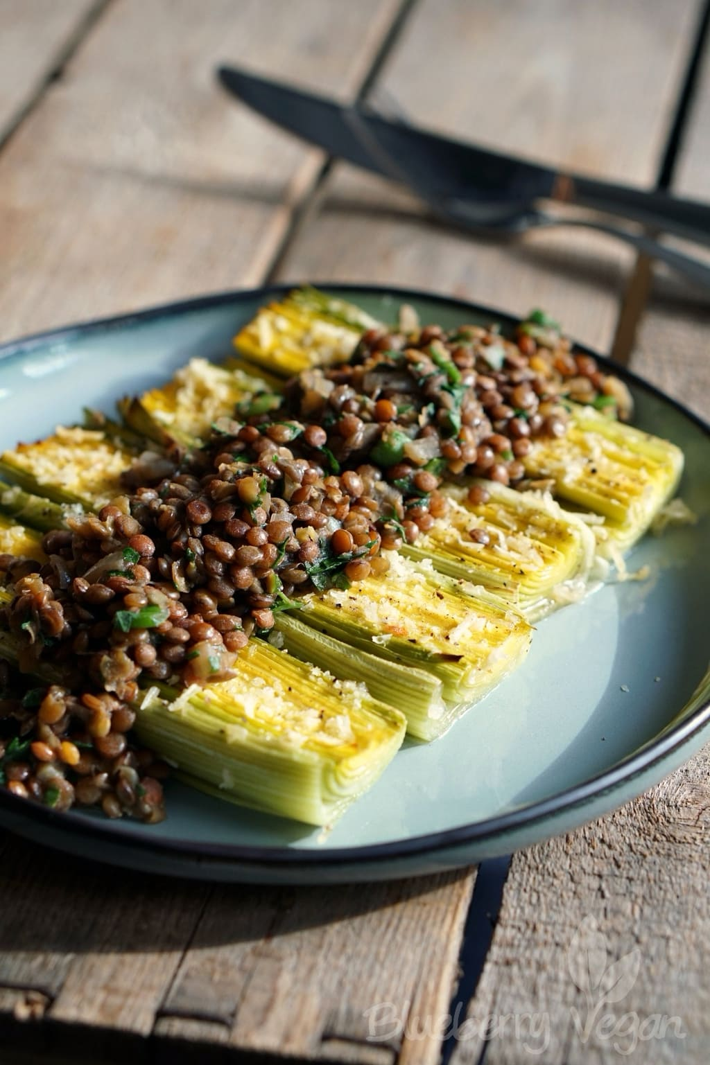 Baked Leeks with Tangy Lentils