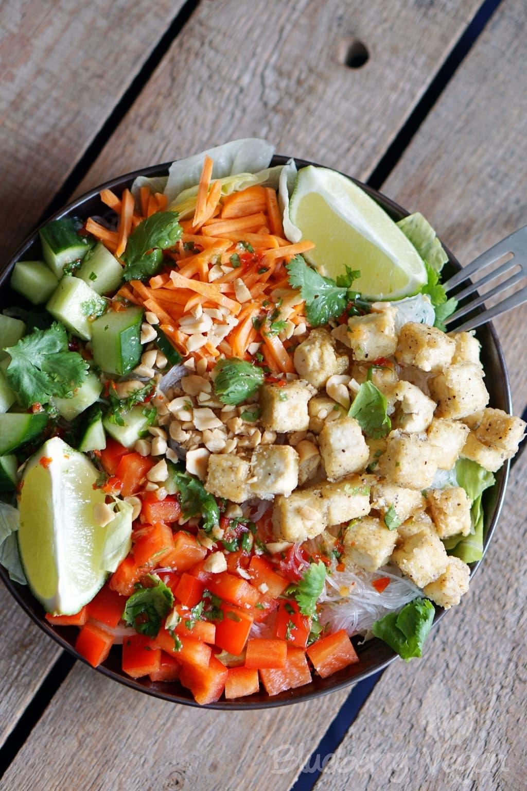 Colorful Glass Noodle Salad with Crispy Tofu and Chili Lime Dressing